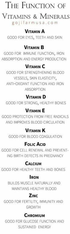 A função das vitaminas e minerais.