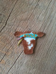 Western Cow / Steer/ Heifer Head Clay Pendant with Hippie Headband, Western Cowgirl Jewelry
