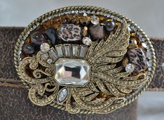 Antique finish rhinestone belt buckle with by CreativityAtPlay, $65.00