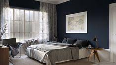 chambre deco contemporaine bleu fonce