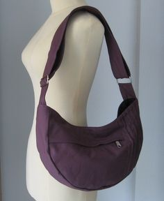 Plum Canvas Bag - Shoulder bag, Diaper bag, Messenger bag, Tote, Travel Bag - SMILEY