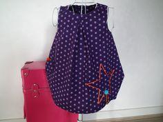 Robe trapèze en coton étoilé violet 2 ans : Mode filles par lilobulle