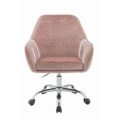 Acme Furniture Eimet Dusky Rose Velvet Office Chair 92504 - The Home Depot Velvet Office Chair, Swivel Office Chair, Desk Chair Comfy, Cool Office Chairs, Small Office Chair, Velvet Chairs, Office Spaces, Office Desk, Stylish Chairs