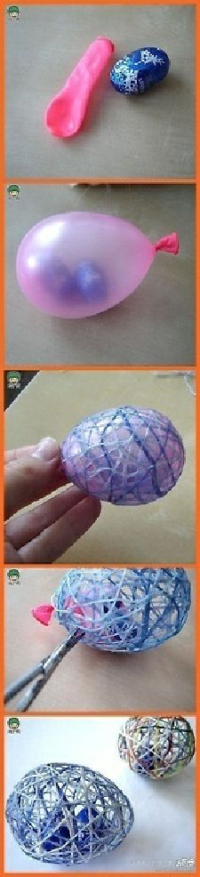1. Insert candy into balloon 2. Blow balloon up to desired size 3. Wrap balloon with colored yarn or string 4. Paint with White (Dries Clear) Glue 5. When glue is dry pop balloon and remove pieces