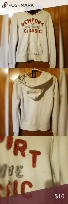 Hollister Cream/White Colored Pullover Very cute Hollister hoodie/pullover. Front says Newport Big Wave Classic. Has a stain on the front near the left armpit, not super noticeable. Selling for CHEAP! [Flowers not included] Hollister Tops Sweatshirts & Hoodies