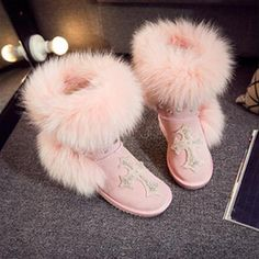 5d3ffaa0621 Fashion style big nature fox fur girls tall snow boots for women botas  genuine leather winter shoes high boot high quality