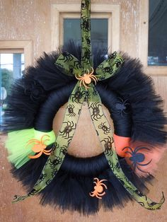 My Halloween tulle wreath.