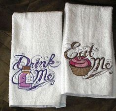Eat Me & Drink Me - Alice in Wonderland themed EMBROIDERED Pair of 15 x 25 inch hand towels for kitchen