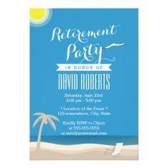 Summer Beach Theme Retirement Party Invitations