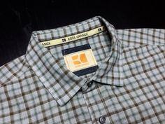 HUGO BOSS ORANGE Mens XL Brown Gray Green Plaid Long Sleeve Spread Collar Shirt | Shop Menswear at designerclothingfans.com