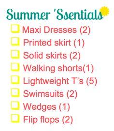 Summer Wardrobe Essentials Customizable Checklist