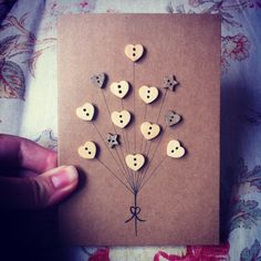 Handmade Greeting Card Button Balloons by claireasdaisies on Etsy