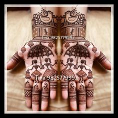 varli art sort of design over hands with mehndi