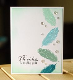 handmade thank you card using challenge dessign CAS(E) this Sketch #78 ... column of falling feathers and sparkling sequins ...