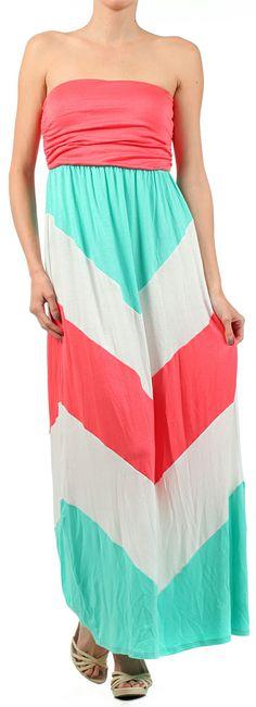 Coral + mint colorblock chevron maxi dress