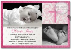 Pink Polkadot Cross Baptism invitation [DI-804] : Custom Invitations and Announcements for all Occasions, by Delight Invite, girl theme baptism christening invitations, christening ideas for girls, baptism invites, professionally printed, 2 piece hand mounted on metallic sparkly card stock, hand made baptism christening invitations for girls