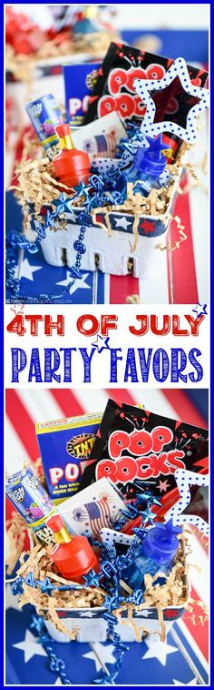 4th of July party favor baskets for kids – keep kids entertained while they wait for the parade or big fireworks show with this patriotic party favor basket from MichaelsMakers A Pumpkin And A Princess 4th Of July Celebration, 4th Of July Party, Fourth Of July, Diy Party Food, Party Favors, Party Ideas, Parties Food, Diy Food, Gift Ideas