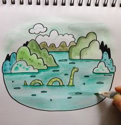 """The """"myth"""" or legend of the Loch Ness Monster. Is it real or is it just folklore? I immediately knew I wanted to draw Nessie for """"myth"""" as soon as I thought of the word. I like to imagine her being a guardian of Loch Ness. Such a fun one to draw!  Happy April Fool's Day! #doodleadayapril #myth #lochness #lochnessmonster #nessie #illustration #illustrator"""