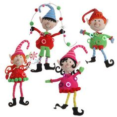 raz sitting elf christmas ornament 4 assorted multicolor styles of elf boy and girl ornaments choose