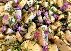 potato salade with chive blossom