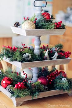 100 Best Kitchen Christmas Decorations - Prudent Penny Pincher Give your kitchen a festive makeover with these kitchen Christmas decorations. From rustic to farmhouse Christmas kitchens, there are plenty of ideas. Wall Christmas Tree, Christmas Home, Christmas Wreaths, Christmas Crafts, Christmas Ideas, Christmas Chandelier, Christmas Cooking, Christmas Things, Homemade Christmas