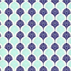 letterpress decorative papers palm leaves in navy aqua - Decorative Paper