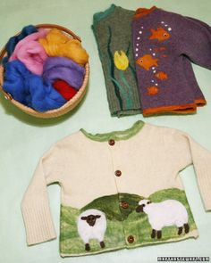 """See the """"Needle-Felted Sweaters"""" in our Handmade Gifts for Kids gallery. Felt a vintage wool sweater and add whimsical designs and patterns for kids using our templates. How to Make the Needle-Felted Sweaters Needle Felted, Wet Felting, Wooly Bully, Recycled Sweaters, Wool Sweaters, Knitting Sweaters, Old Sweater, Felting Tutorials, Wool Applique"""