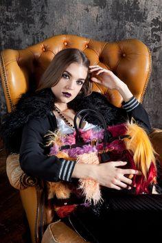 Borsa patchwork di pelliccia e mongolia multicolor