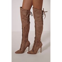Freeyah Tan Cut Out Knee High Pointed Boots (€140) ❤ liked on Polyvore featuring shoes, boots, tan, tan boots, sexy knee high boots, pointy boots, cut-out boots and knee high boots