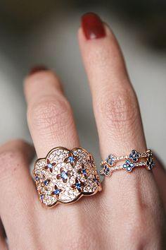 Blue Sapphire Four Leaf Clover Ring Set Rose Gold from kellinsilver.com