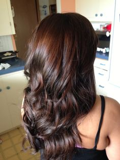 Long layers & dark brown with red tint so pretty