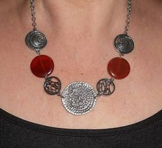 Carnelian necklace, carnelian and silver link boho chic necklace, statement necklce, bohemian jewelry