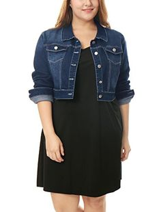 f03052e61e6f4 uxcell Women Plus Size Button Closed Cropped Denim Jacket 1X Dark Blue  Cropped Denim Jacket,