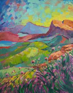 """""""Wild Flowers in the Valley"""" - Colorful Abstract Expressionistic Fine Art Painting by Artist"""