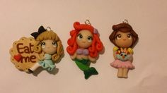 3 ciondoli dolls (La sirenetta, Heidi, Alice) realizzate in fimo. 12 € su misshobby.com