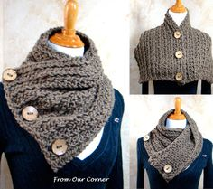 Mother's Gift, Crochet Scarf, 3 Button scarf, Wrap cowl, Dallas Dreams Scarf, Cream 3 Buttons Scarf, Shoulder Warp