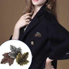 일본 한국 복고풍 패션 세 Sripe 간단한 잎 칼라 브로치 합금 잎 브로치 여성 선물 무료 배송