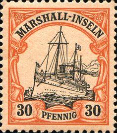 "Marshall Islands 1901 Yacht ""Hohenzollern II"" Issue  [MiNr 18, Sc 18] 30pf"