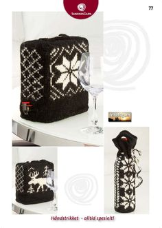 Kit 77 - Strikket trekk til vinkartong/flaske/ Knitted bag in box etc Diy And Crafts, Knitting Patterns, Wool, Cool Stuff, How To Make, Bags, Accessories, Norway, Easter