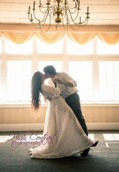 #wedding #vintage #dance #dip #kiss #silhouette #windows #photo by High Contrast Photography.