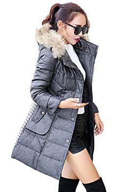 Biwinky Women's Winter Down Coat Hooded Jacket Raccoon Fur Trimmed