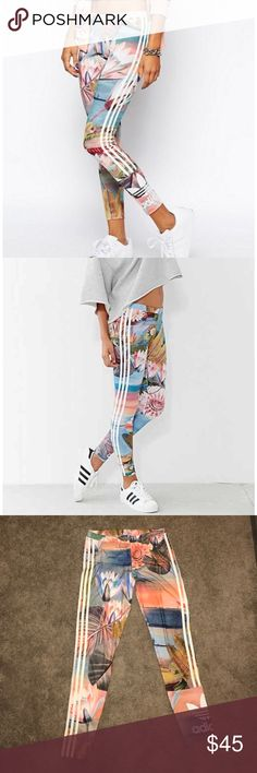 Adidas Originals Printed Curso Legging Gorgeous floral lotus printed Adidas Originals leggings! Hard to find, sold out everywhere! These are brand new without tags. Worn once. Women's size Medium. Signature adidas logo at ankle, with the three white side stripes down the leg. These are a must have! Adidas Pants Leggings