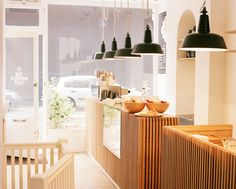 fabulous lighting idea for the bistro kitchen - Monocle Cafe London Monocle Café, London the lights are interesting