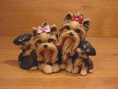 Original Yorkie Yorkshire Terrier Family Dog Sculpture ClayDogz MandyO ooak