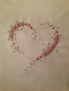 Wonderful Ribbon Embroidery Flowers by Hand Ideas. Enchanting Ribbon Embroidery Flowers by Hand Ideas. Embroidery Hearts, Rose Embroidery, Hand Embroidery Stitches, Silk Ribbon Embroidery, Hand Embroidery Designs, Cross Stitch Embroidery, Embroidery Ideas, Bullion Embroidery, French Knot Embroidery
