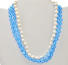 Signed Miriam Haskell Glass Bead Necklace Pearl Blue Vintage