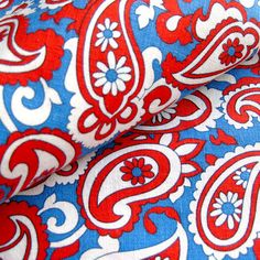 1970s Vintage Paisley Fabric in Red White and Blue by SelvedgeShop, $14.00