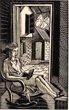 Eric Ravilious did this wood engraving of Tirzah in 1929. It was used as the illustration for 'October' in the 1929 Almanack: Twelve Designs Engraved on Wood by Eric Ravilious.