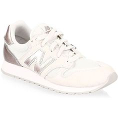 New Balance 520 Low Top Sneakers (€67) ❤ liked on Polyvore featuring shoes, sneakers, new balance shoes, round toe shoes, suede shoes, rubber sole shoes and laced up shoes