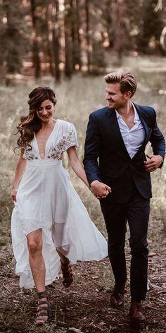 Top 24 High Low Wedding Dresses ❤ high low wedding dresses chic v neckline with sleeves jonnie and garrett ❤ See more: http://www.weddingforward.com/high-low-wedding-dresses/ #wedding #bride
